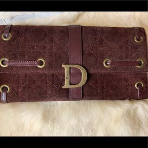 AUTHENTIC CHRISTIAN DIOR BROWN SUEDE CLUTCH